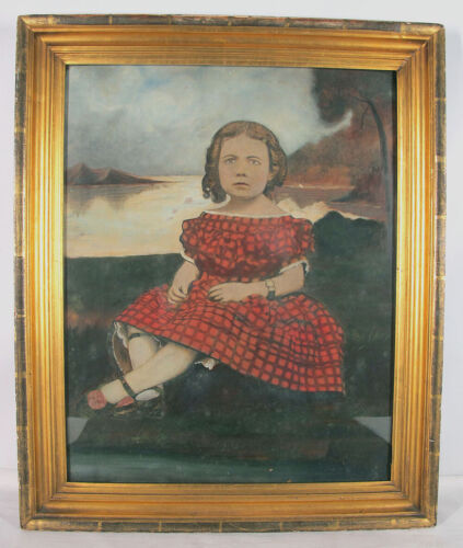 Antique Big 19th C Gouache Painting Ringlets Girl in Red/Black Gingham Dress yqz <br/> Primitive Naive Shabby Chic Cond - ESTIMATE: $95-$185
