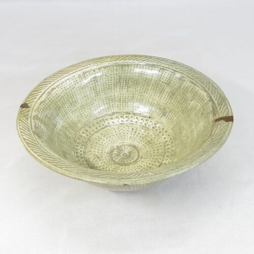 E0210 Korean old bowl of blue porcelain of MISHIMA inlay of Goryeo dynasty style