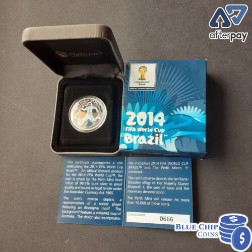 2012 50c 2014 BRAZIL Fifa World Cup 1/2oz Silver Proof Coin Cert No: 666