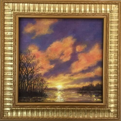 SPARKLING DAWN - Framed 7 X 7 inch original oil skyscape painted by K. McDermott