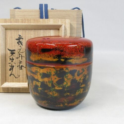 E0220: Japanese lacquer ware NATSUME tea container of good pattern w/signed box