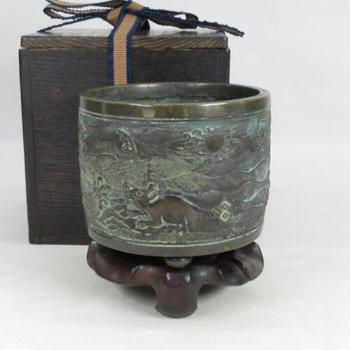 D2012: Chinese old tasty copper incense burner with dedicated good wooden stand