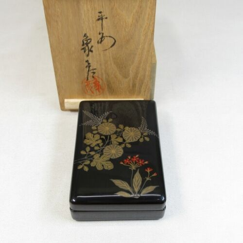 E0139: Japanese lacquer ware incense case by famous ZOHIKO w/good MAKIE and box