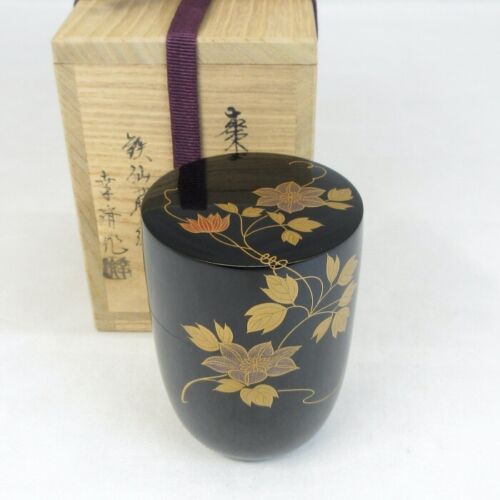 E0261: Japanese lacquer ware NATSUME tea container of good MAKIE with signed box