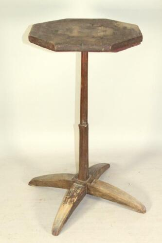RARE 17TH C PILGRIM PLYMOUTH MA TRESTLE BASE X-BASE CANDLESTAND IN OLD RED PAINT