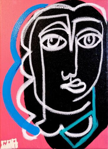 WOMAN SILHOUETTE ART PORTRAIT CANVAS PAINTING OIL ACRYLIC MODERN EXPRESSIONISM