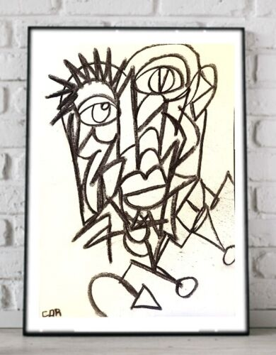 EXPRESSIONIST ORIGINAL PAINTING CONTEMPORARY DRAWING WALL MODERNIST FINE ART