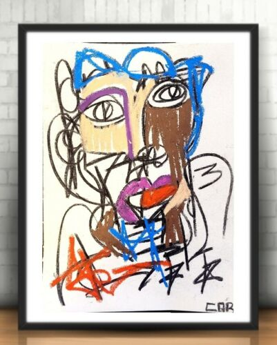 MODERNIST CONTEMPORARY PAINTING ORIGINAL DRAWING PASTEL ACRYLIC FINE WALL ART