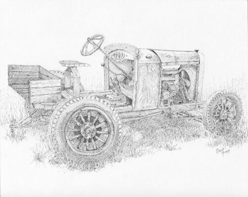 """Original Pen Drawing """"Chevy Doodlebug"""" Abandoned Farm Tractor Ink 8"""" X 10"""""""