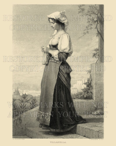 Italian girl knitting Italy 1874 engraving 8x12 repro art. Larger prints availab