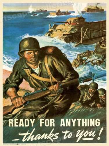 Army Vintage Style WW2 recruiting Poster 1940 U.S 18x24