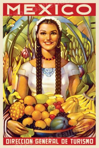 1950s Mexico Beautiful Girl Vintage Style Travel Poster - 24x36