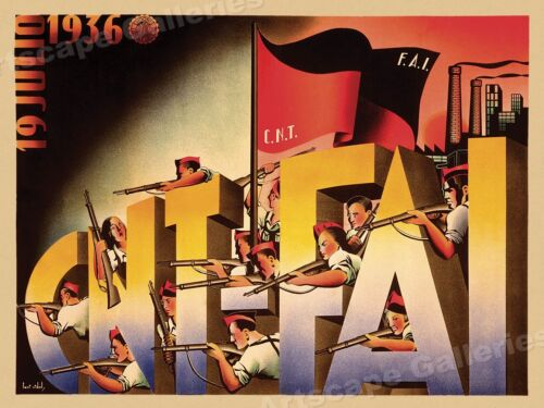 """CNT-FAI"" Soldiers - 1930s Spanish Civil War Poster - 24x32Art Posters - 28009"