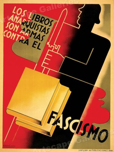 """Spanish Civil War Poster Art """"Books are Weapons Against Fascism!"""" - 20x28Art Posters - 28009"""