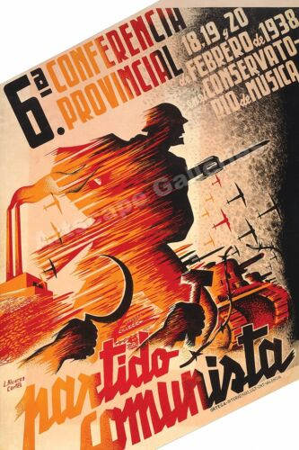 """""""Communist Party Conference"""" 1930s Spanish Civil War Poster - 24x36Art Posters - 28009"""