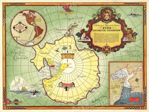 Admiral Byrd Map of 2nd Antarctic Expedition 1934 Map - 24x32
