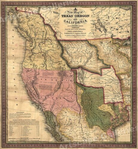 Historic 1840s Map of Texas Oregon & California Western US -  24x26