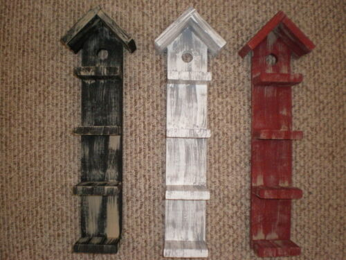 Black, White or Red Weathered Look Primitive (Rustic) Bird House Shelf