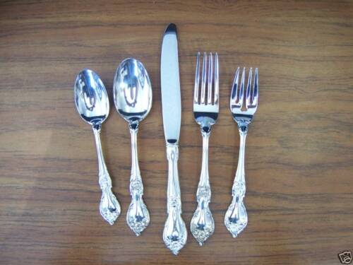 """LUNT """"SAINT CHARLES"""" SILVER PLATE 5PC PLACE SETTING NEW"""