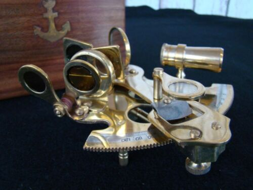 "4"" Brass Sextant w/ Wooden Box - Nautical Sextent Astrolabe"