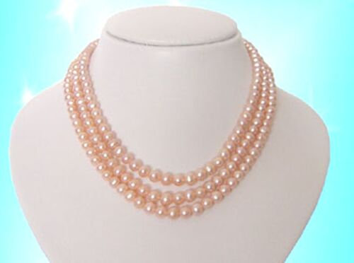 CLASSIC 3 Strand AA Quality Round Genuine 6-7mm Pink Pearl Necklace