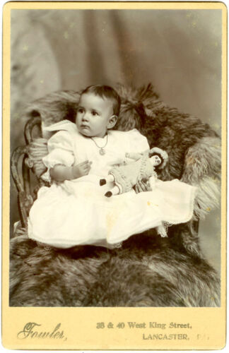 CABINET CARD YOUNG BABY W/ GREAT DOLL