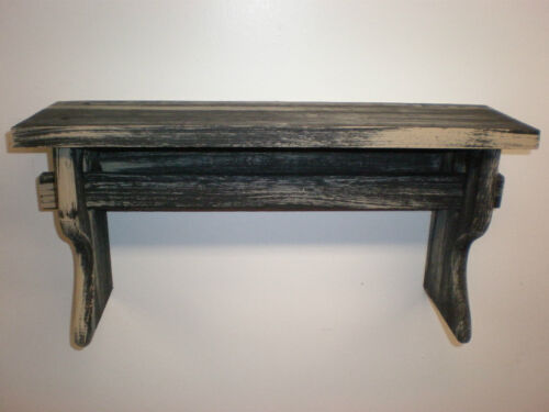 "Black Weathered Looked Towel/Quilt Shelf 19"" Long Primitive (Rustic)"