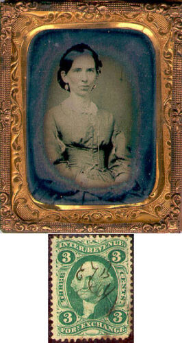 TIN OF LADY WITH 3 CENT REVENUE
