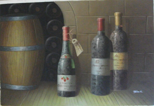 """Hand painted and signed winery art OIL PAINTING ON CANVAS, 24"""" x 36"""""""