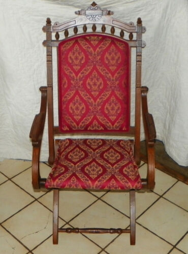 Walnut Carved Eastlake Campaign Fold up Chair Sidechair  (AC42)