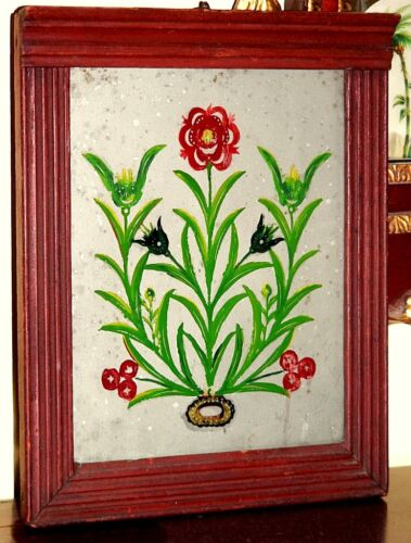 """Rare c1800 small frame, eglomise painting, cornice/fluted frame, 12"""" t,"""