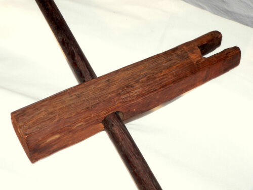 """Rope Tightener for rope bed, rare, oak, T-handle, 12"""", early 1800"""