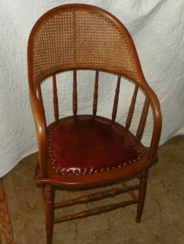 Oak Caned Firehouse Armchair Chair with leather seat  (AC78)