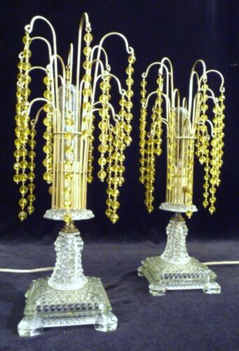 A PAIR:  ART DECO CRYSTAL WATERFALL BOUDOIR TABLE LAMPS LIGHTS  1930s