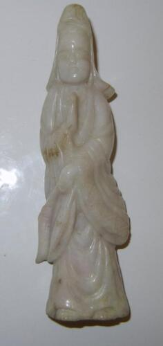 Antique Chinese Hand Carved Grade A White Jade Kwan Yin 19c Unique
