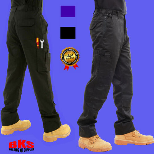 Mens Combat Cargo Work Trousers Size 30 to 54 With KNEE PAD POCKETS – By BKS <br/> Semi Elasticated Waistband Waist for a Comfort Fit