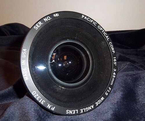 PACIFIC OPTICAL CORP. 165d.. 3.45mm F1.5 Wide Angle Lens PN31320. Used Good!