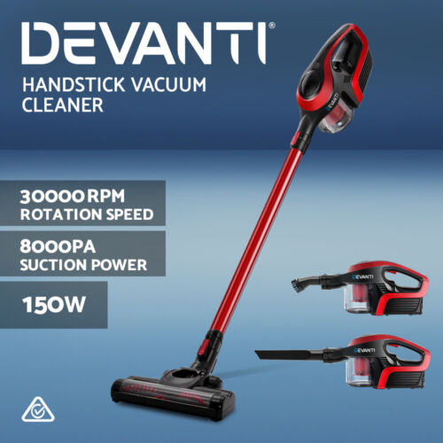 Devanti Handheld Vacuum Cleaner Cordless Bagless Stick Handstick Vac Recharge <br/> ✔8000Pa Suction✔30000rpm Rotation Speed✔High Efficiency