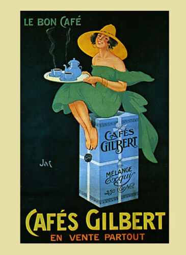 Coffee Cafes Gilbert Lady Green Dress France French Vintage Poster Repro FREE SH