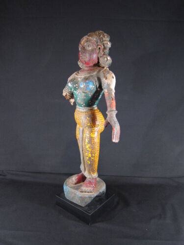 Superb antique 19th century Indian wooden temple statue of a lady
