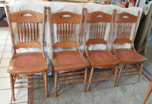 Set of 4 Carved Chestnut Dinette Chairs Sidechairs  (DC41)