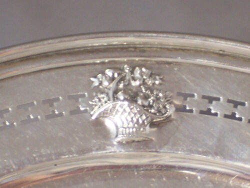 ANTIQUE DOMINICK & HAFF STERLING SILVER BASKET OF FLOWERS PIERCED EDGE TRAY