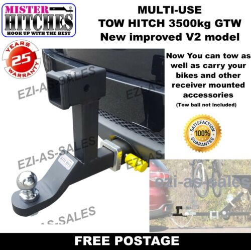 DUAL HITCH BALL MOUNT TONGUE MULTI USE TOW BAR TRAILER CAMPER BIKE RACK  <br/> FOR TOWING AND USING RECEIVER STYLE BIKE RACK