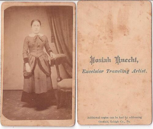 CIVIL WAR ERA YOUNG GIRL WITH GREAT DRESS BY TRAVELING ARTIST, CDV
