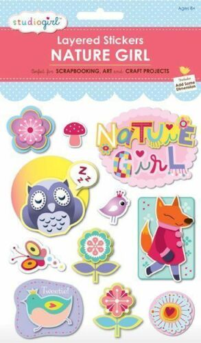 My Studio Girl StudioGirl 3D Layered Glitter Pearl Craft Stickers Nature Girl