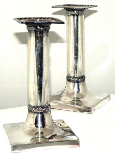 Candlesticks, Pair, silverplate, Colonial Revival, Barbour Silver Co, c1895