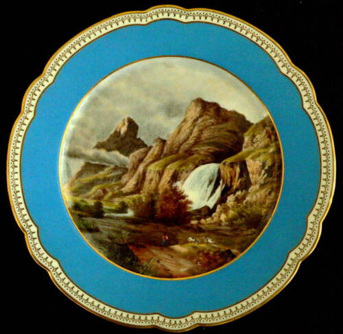 """Mid 1800 French porcelain cabinet plate, Pissevache, 9"""""""