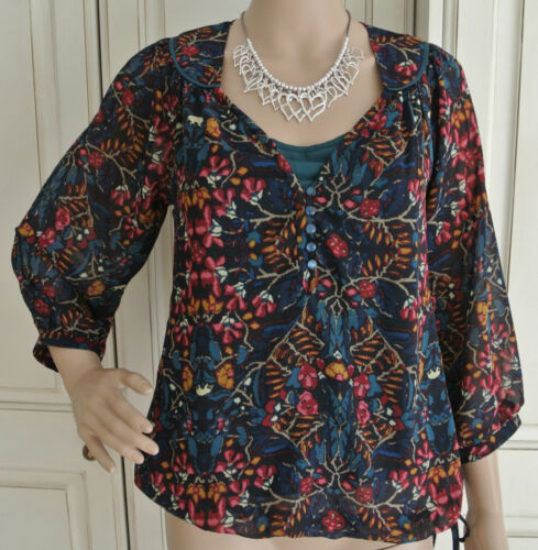 NEW Ex M&S Jade Red Blue Beige Orange Floral Print Two Layer Blouse Top 8 10 14