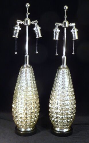 PAIR MID-CENTURY MERCURY TEARDROP GEOMETRIC RETRO VINTAGE REGENCY TABLE LAMPS