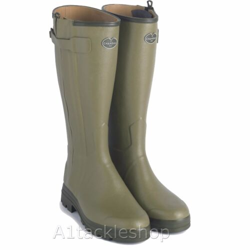 Le Chameau Chasseur Leather Lined Rubber Boots Wellingtons & Free Boot Bag